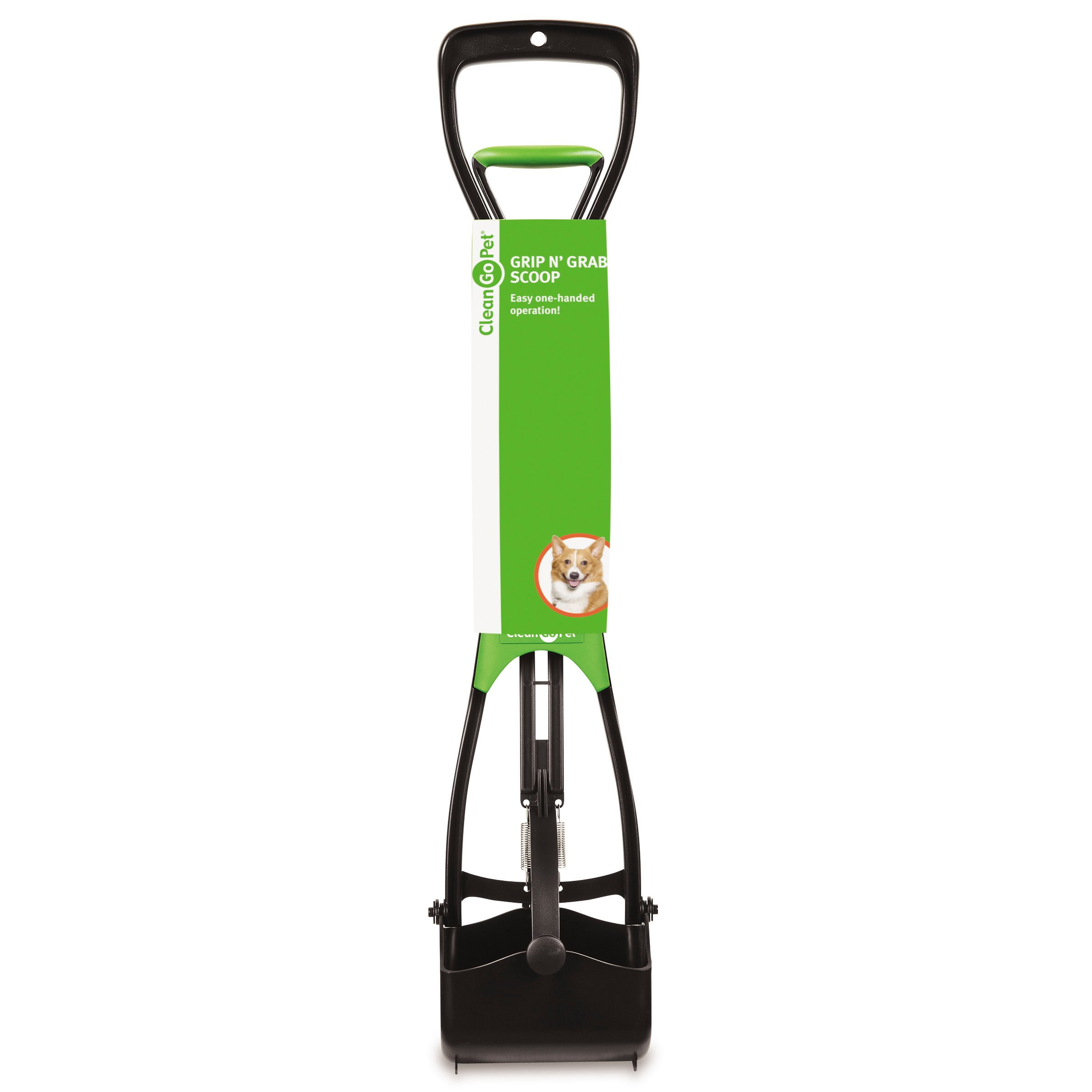 Clean Go Pet Grip-N-Grab Pet Waste Scoop with Double Spring-Action, Convenient One-Handed Operation