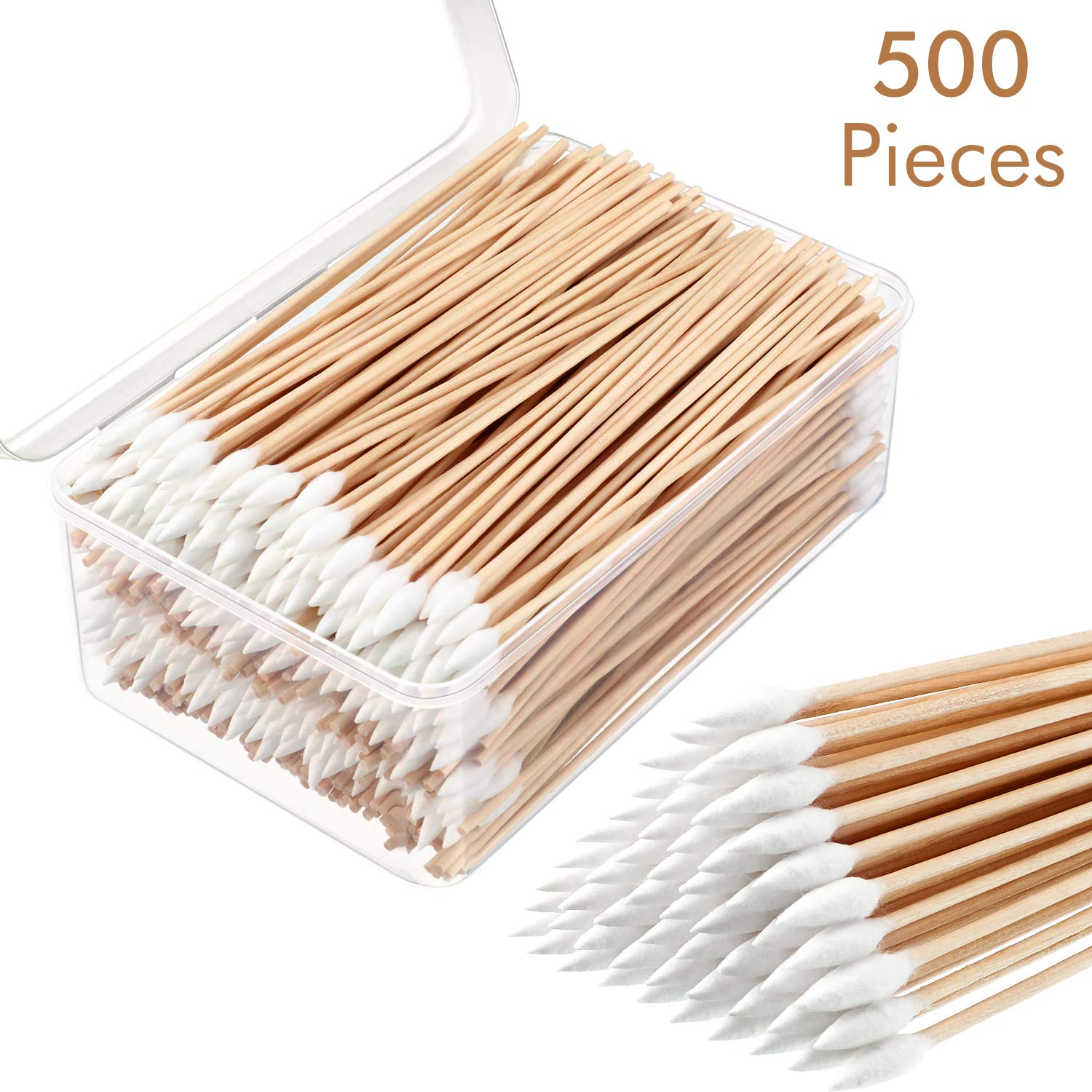 Norme 6 Inch Caliber Cotton Cleaning Swabs Single Round Tip with Wooden Handle Cleaning Swabs for Jewelry Ceramics Electronics in Storage Case (Pointed Tip, 500 Pieces) by Norme