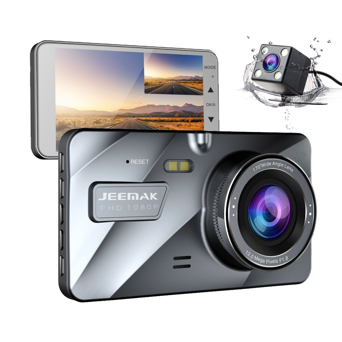 JEEMAK 4'' IPS Dual Lens Car Dash Cam FHD 1080P Dashboard Camera 170 degree Wide Angle In Car Vehicle Driving DVR Recorder with G-Sensor Parking Monitor WDR Loop Recording Night Vision