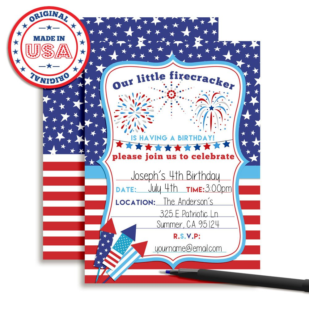 Amazon 4th Of July Party Firecracker Birthday Invitations 20 5x7 Fill In Cards With Twenty White Envelopes By AmandaCreation Toys Games
