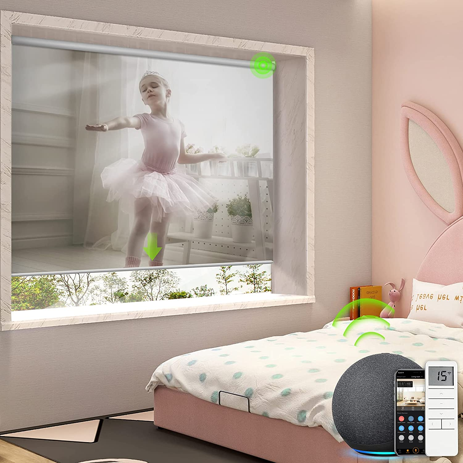 Yoolax Motorized Blinds with Alexa, Blackout Smart Roller Shade with Power Motor Customized Size and Photo, Automated Window Blind with Remote Control for Home Office (Customize Picture)