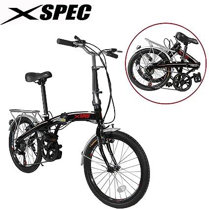 Xspec 20u0026quot; 7 Speed City Folding Compact Bike Bicycle Urban Commuter  Shimano Black