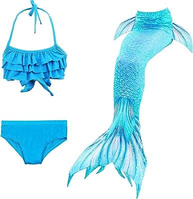 YITU Mermaid Tails for Swimming Girls 3Pcs Princess Bikini Swimmable Bathing Swimsuit 3-12 Ages