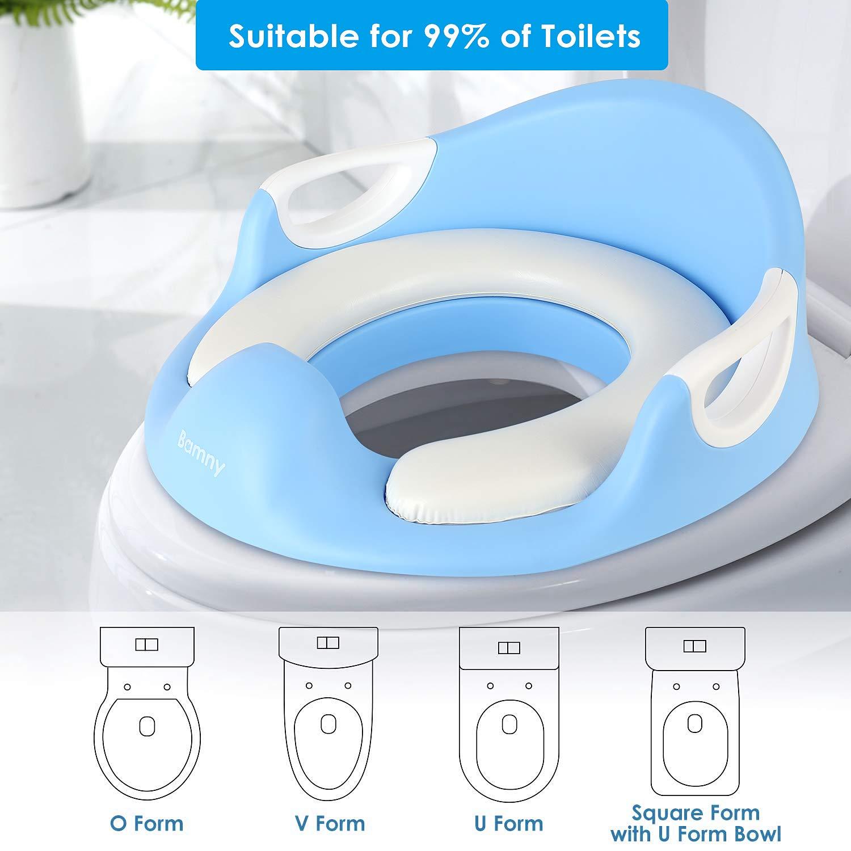 Conception Antid/érapants ergonomique Rehausseur WC Enfant Si/ège de Toilette Avec Coussin Poign/ée Dossier BAMNY B/éb/é R/éducteur de Toilette bleu