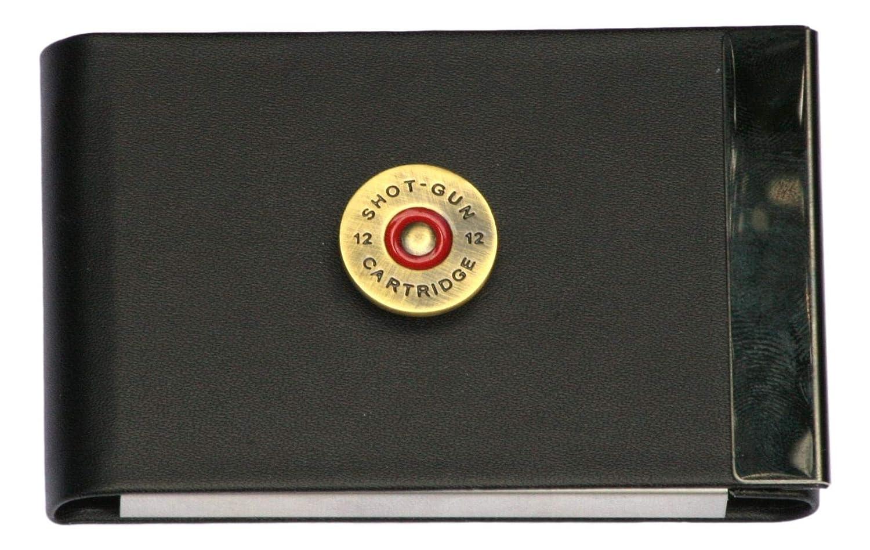 Cartridge Head Business Card Holder Black PU & Metal Ideal Shooting Gift
