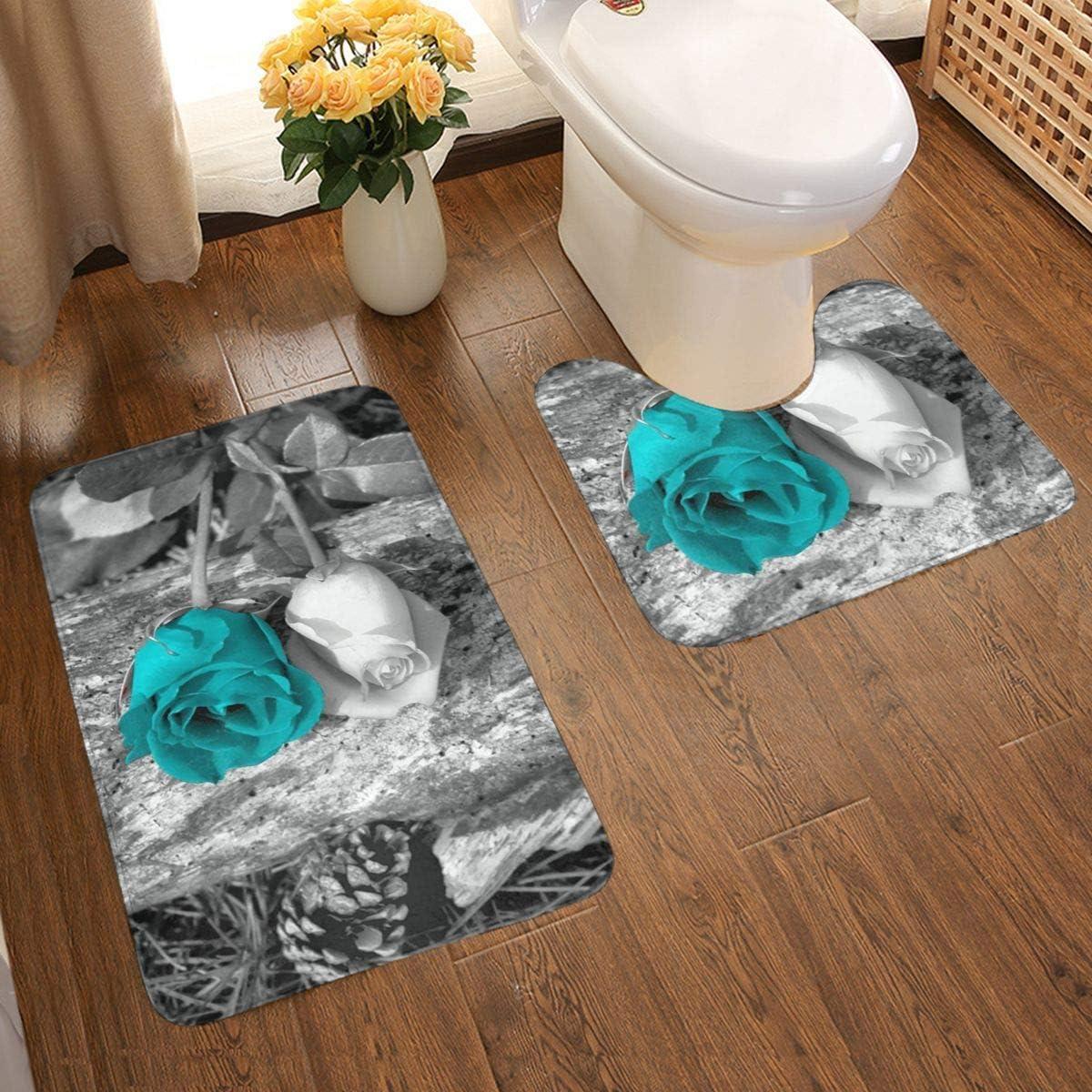 Black White Teal Gray Rose Flowers Bathroom Rug Mat Bath Rug Set Washable Soft Bath Mat, Contour Mat