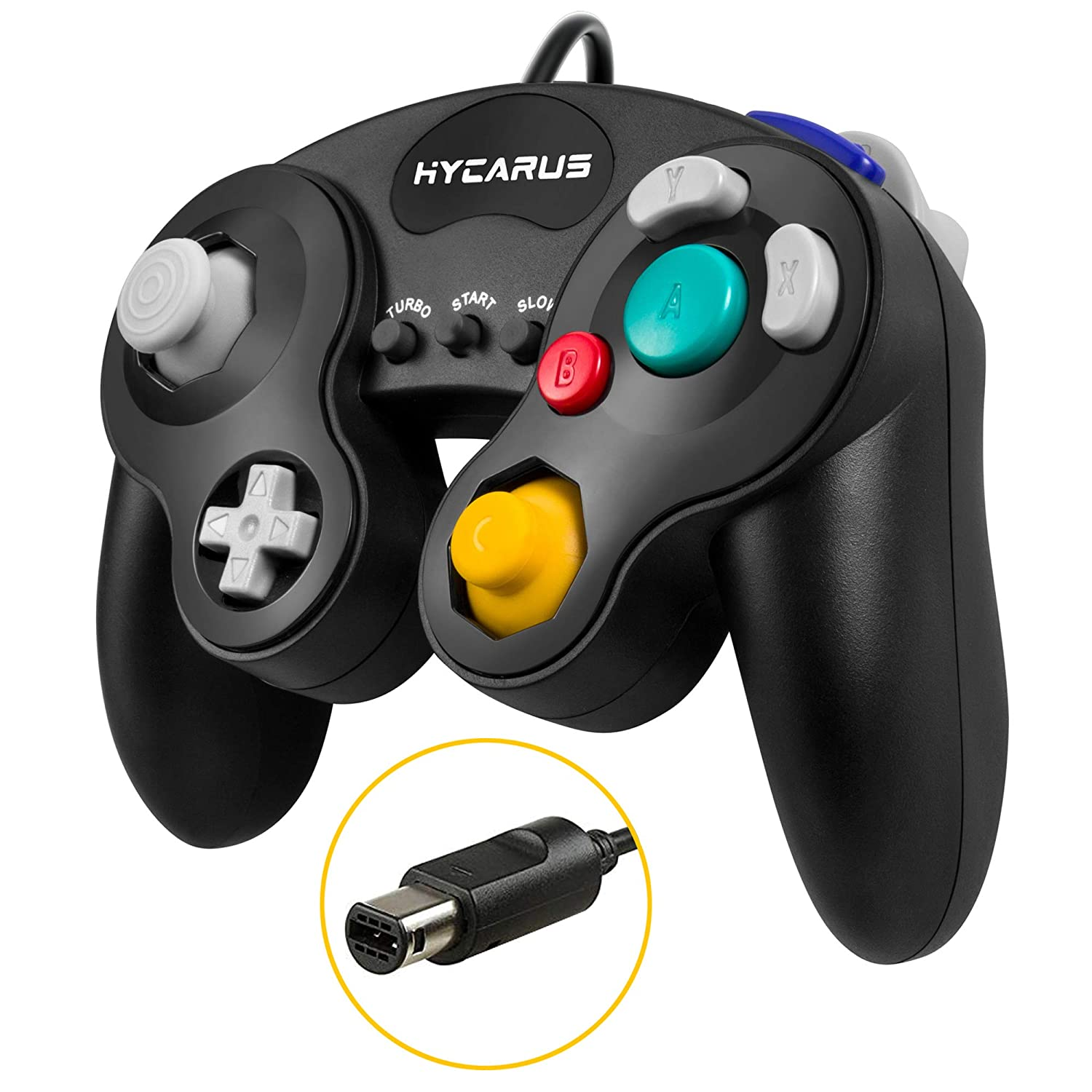 Gamecube Controller, HYCARUS Black Game Cube Controller with Turbo and Slow  Buttons, Gamecube Controller Switch Edition for Nintendo Gamecube