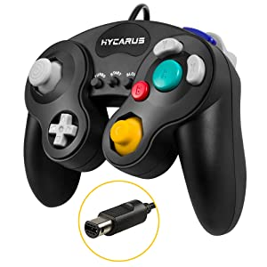 Gamecube Controller, HYCARUS Black Game Cube Controller with Turbo and Slow Buttons, Gamecube Controller Switch Edition for Nintendo Gamecube Controller Games (Gamecube Adapter Required)