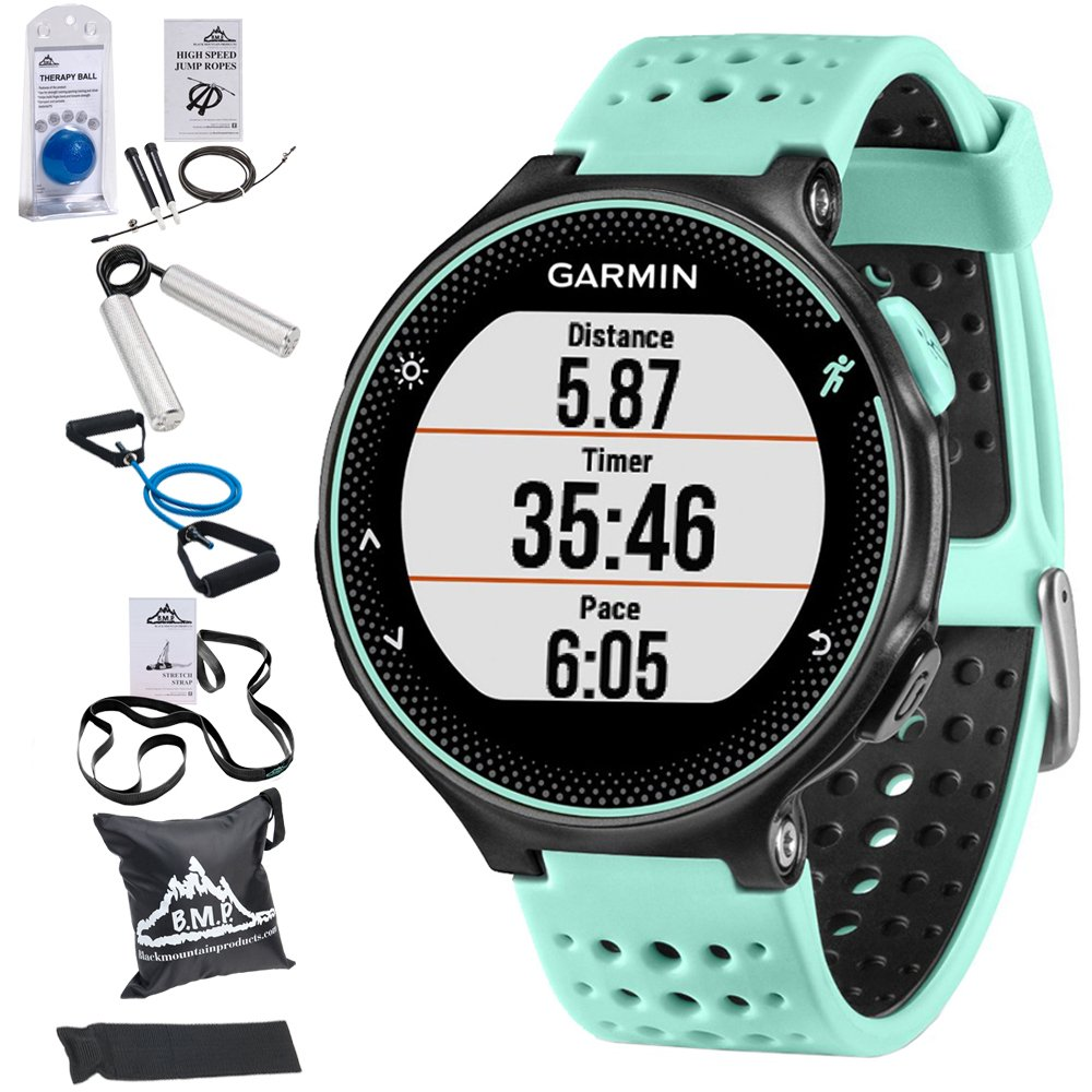 Garmin Forerunner 235 GPS Sport Watch with Wrist-Based Heart Rate Monitor - Frost Blue (010-03717-48) with 7-in-1 Total Resistance Fitness Kit by Garmin