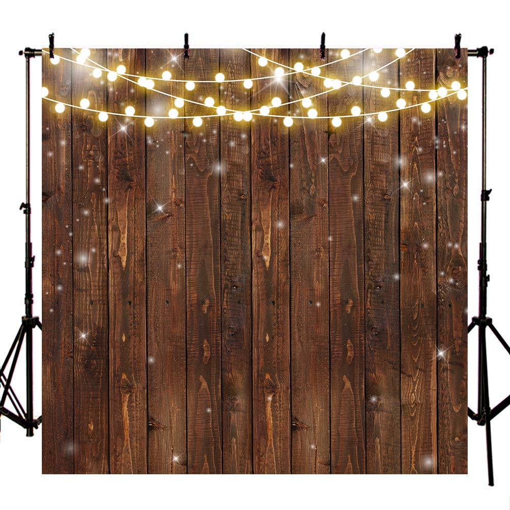 Mehofoto 8x8ft Retro Wood Backdrop Rustic Bright Lights Photography Background for Bridal Shower Wedding Birthday Christening Photoshoot Props for Parties