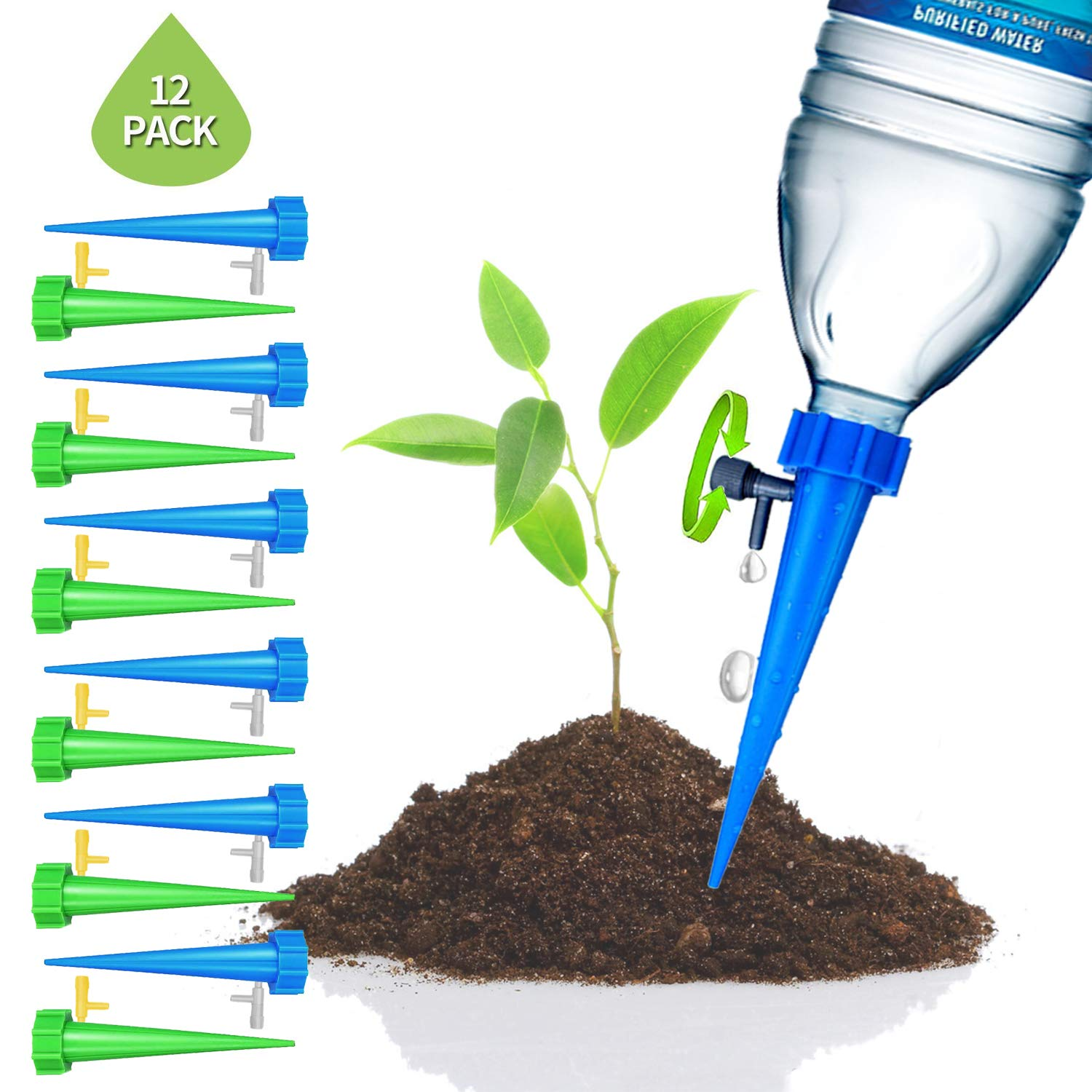SIKSIN PlantWaterer Self Watering Devices, Vacation Potted Plant Watering Spikes Automatic Drip Irrigation Water Stakes System with Control Valve Switch for Garden Plants Indoor & Outdoor (12packs) by SIKSIN