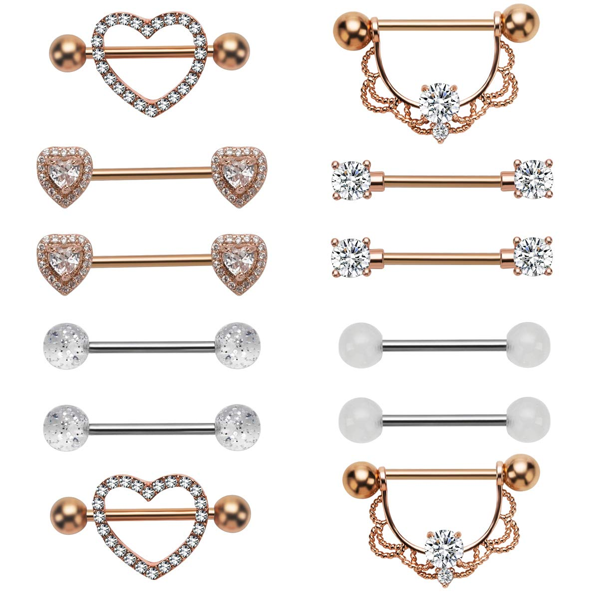 NASAMA Stainless Steel Acrylic Nipple Rings Tongue Ring CZ Barbell Heart-Shape Piercing Body Jewelry (6pair Rose Gold) by NASAMA