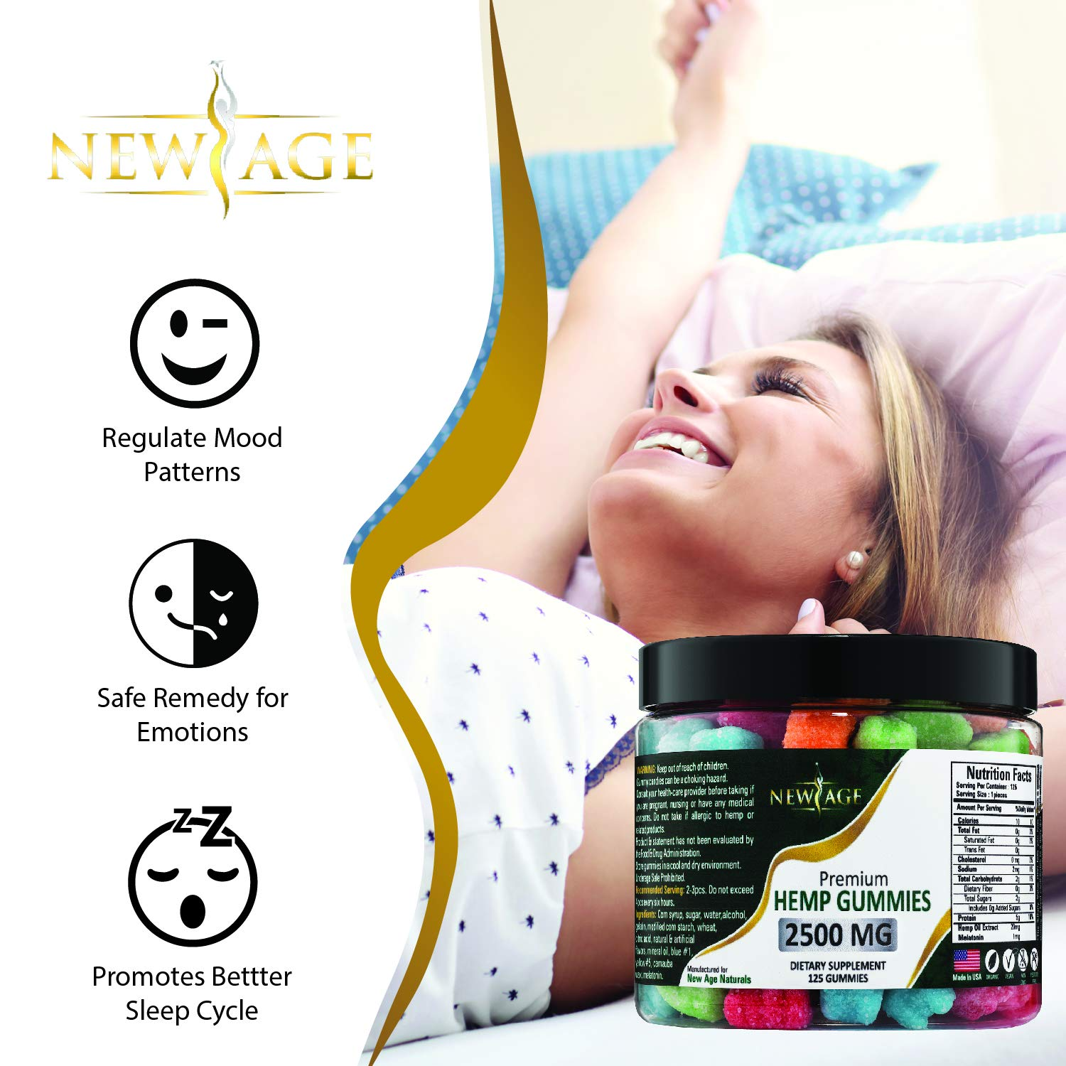 New Age Naturals Advanced Hemp Big Gummies 2500mg 125ct Organic Hemp Oil Infused by New Age