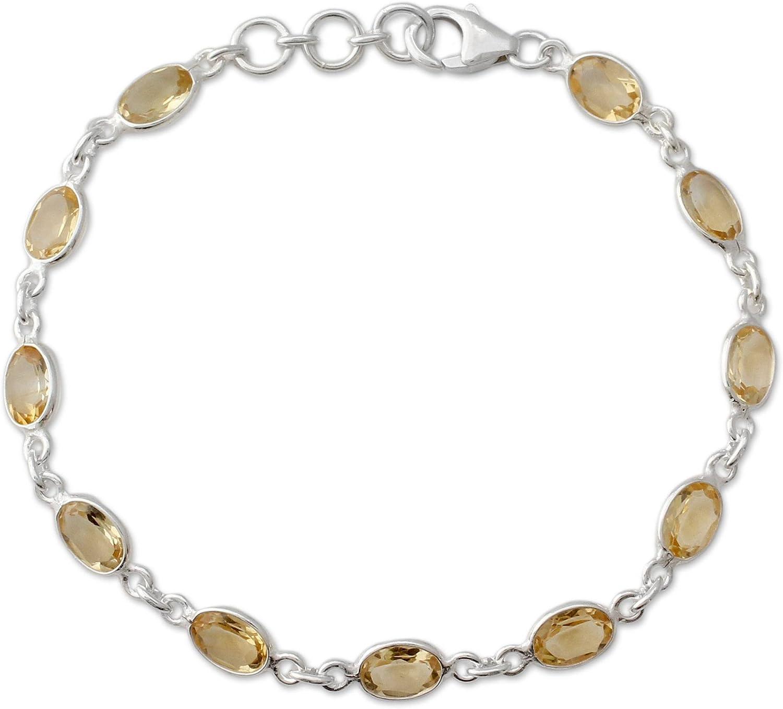 "NOVICA Citrine .925 Sterling Silver Tennis Bracelet, 7"" 'Romantic Yellow'"