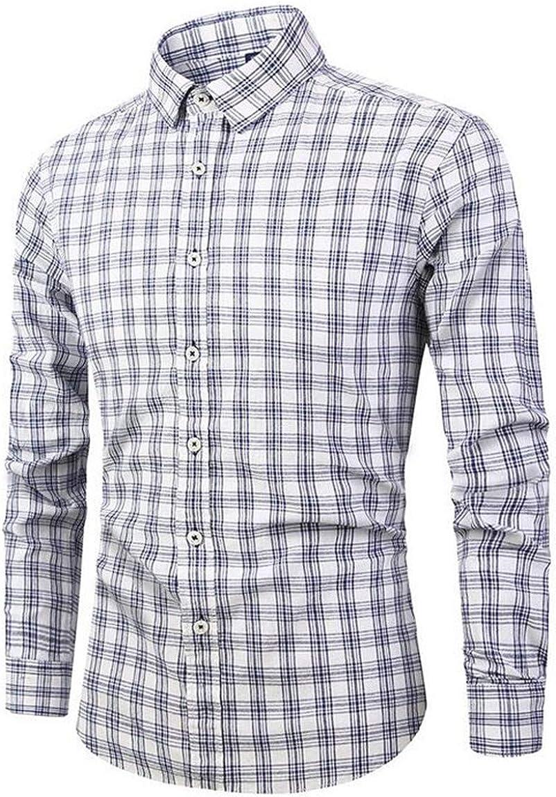 SELX Men Plus Size Long Sleeve Plaids Slim Fit Button Down Dress Shirt
