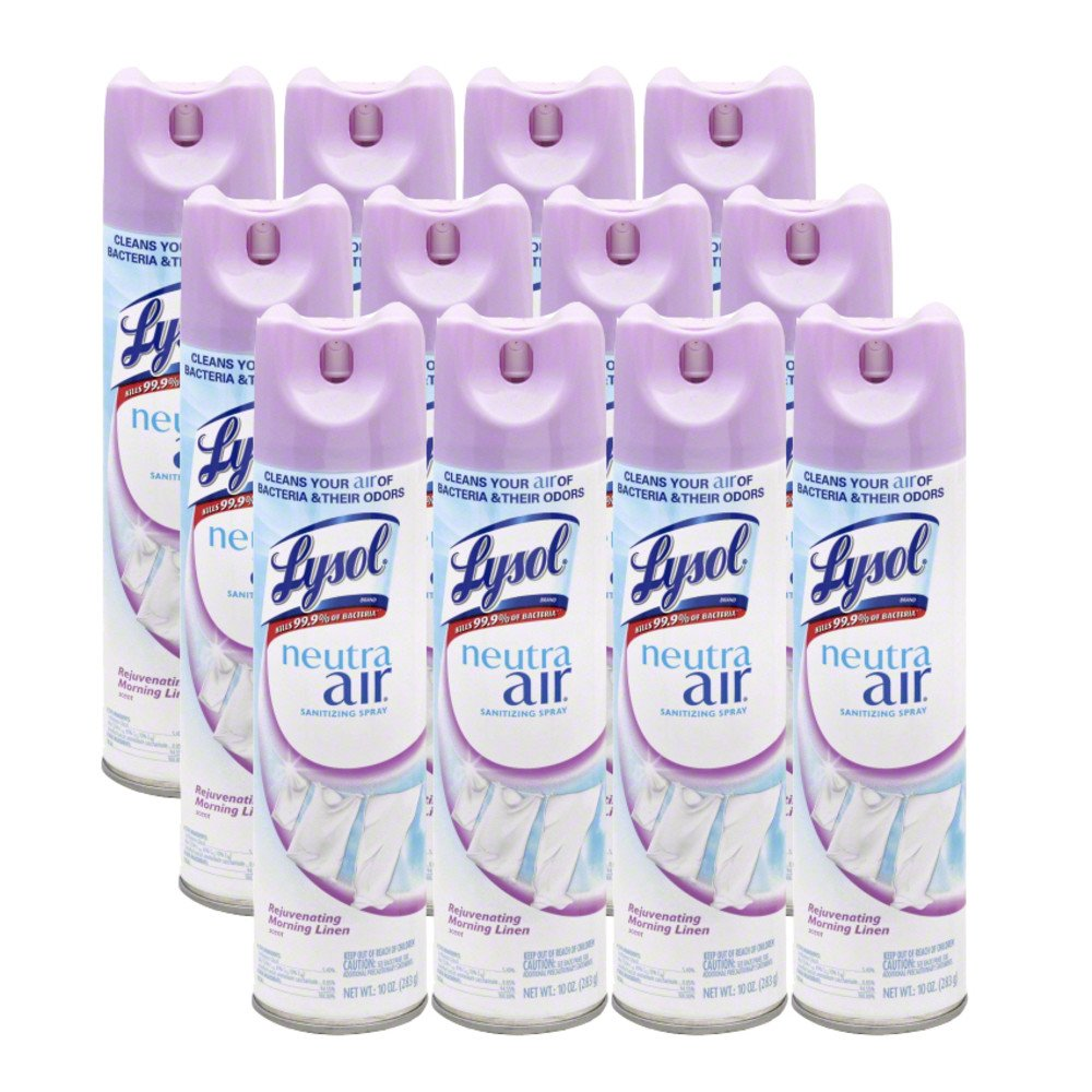 Lysol Neutra Air Sanitizing Spray, Morning Linen, 120oz (12X10oz), Air Freshener, Odor Neutralizer