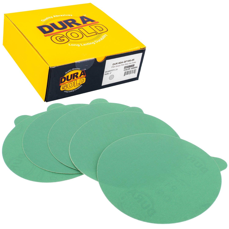 Dura-Gold - Premium Film Back - 180 Grit 6'' Green Film - PSA Self Adhesive Stickyback Sanding Discs DA Sanders - Box 25 Sandpaper Finishing Discs Automotive Woodworking