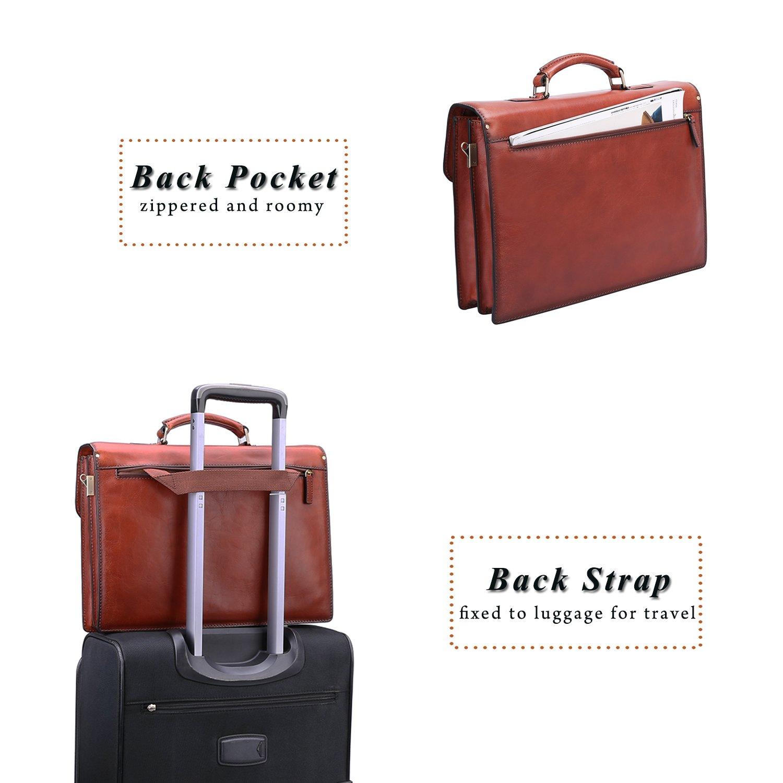 Banuce Vintage Full Grain Italian Leather Briefcase for Men Business Tote Lock Lawyer Attache Case 14 Laptop Messenger Bag