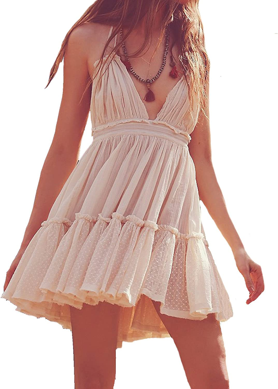 R.Vivimos Womens Summer Halter Deep V Neck Sexy Patchwork Mini Short Dresses: Clothing