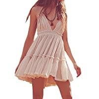 R.Vivimos Women's Halter V-Neck Patchwork Mini Short Dresses