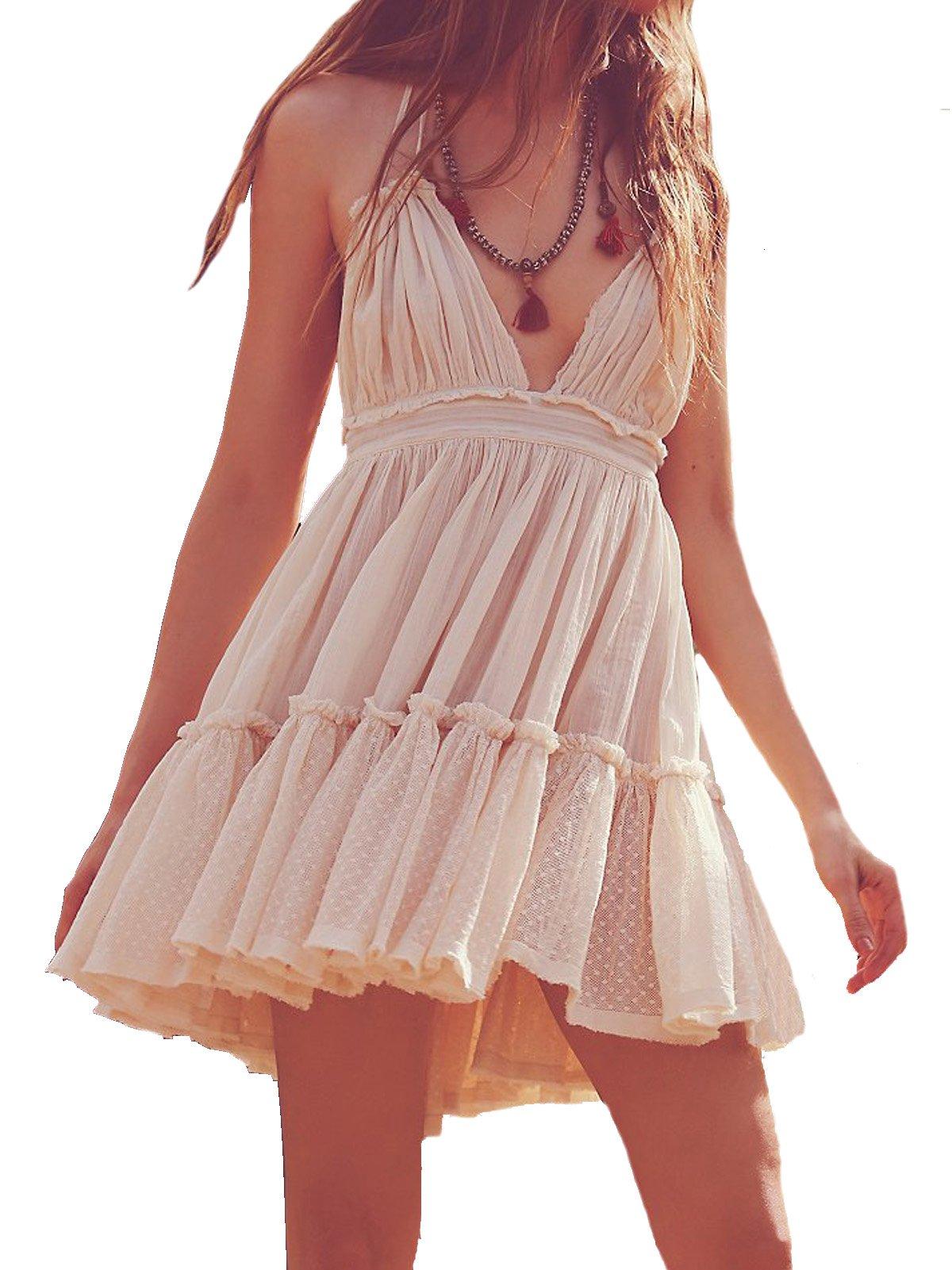 R.Vivimos Women Summer Halter Deep V Neck Sexy Patchwork Mini Short Dresses Small Beige