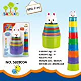 Sunlike® 9 Pcs Rainbow Stacking Nesting Cups with Animal Characters, Cute Rabbit Topper