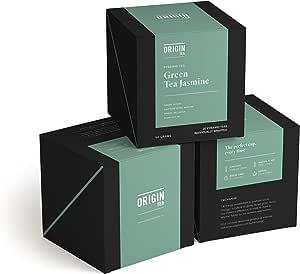 Origin Tea - Green Jasmine Tea Bags - Luxury Pyramid Green Tea Bags - Jasmine Green Tea - Flavoured Tea Bags - Individual Tea Bags - Fairtrade Tea - Envelope Tea Bags