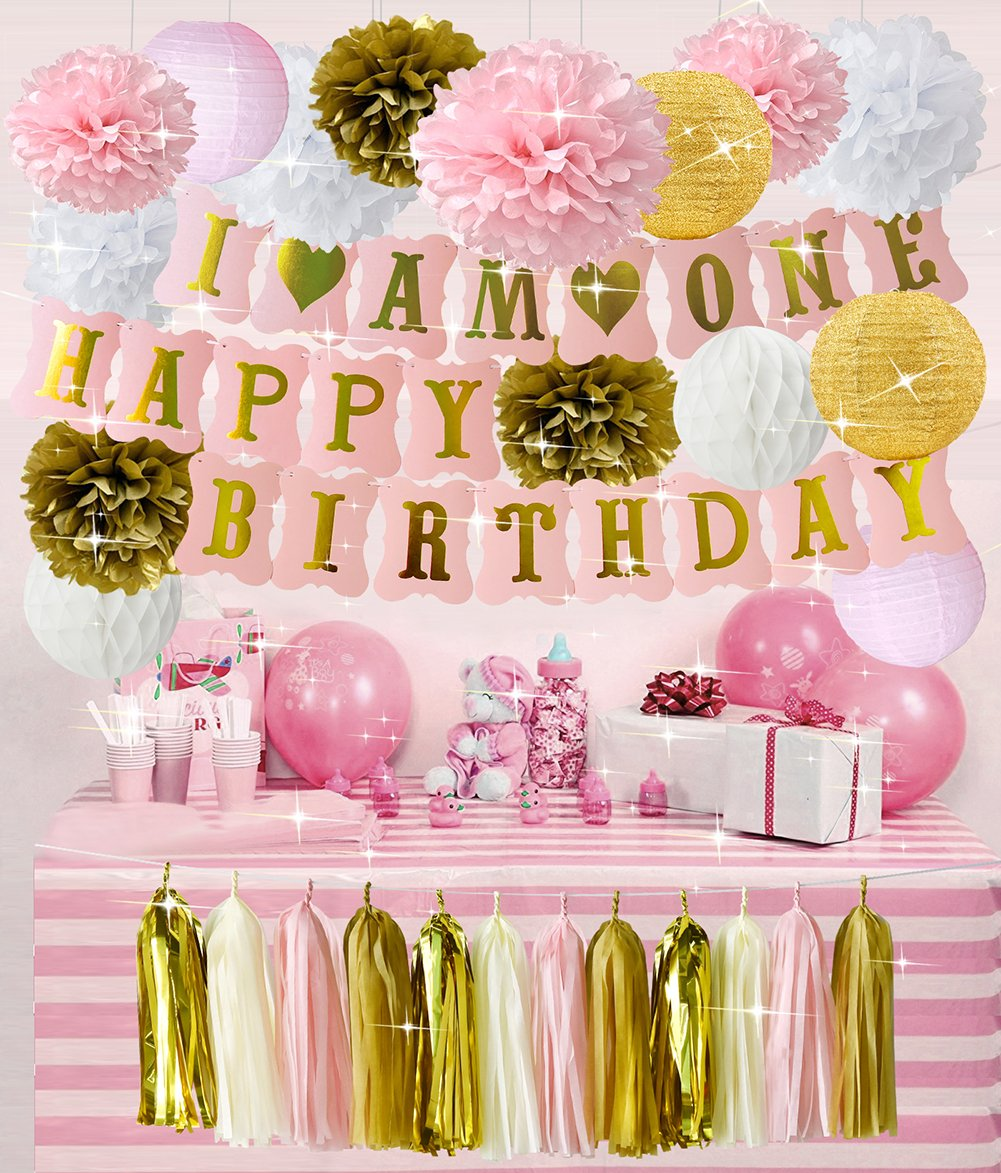 HappyField Pink Gold Girl's First Birthday Party Decorations I AM ONE HAPPY BIRTHDAY Banner Tissue Paper Poms Flower Paper Lanterns Paper Honeycomb Balls Tissue Tassel For 1st Baby Girl Birthday Party