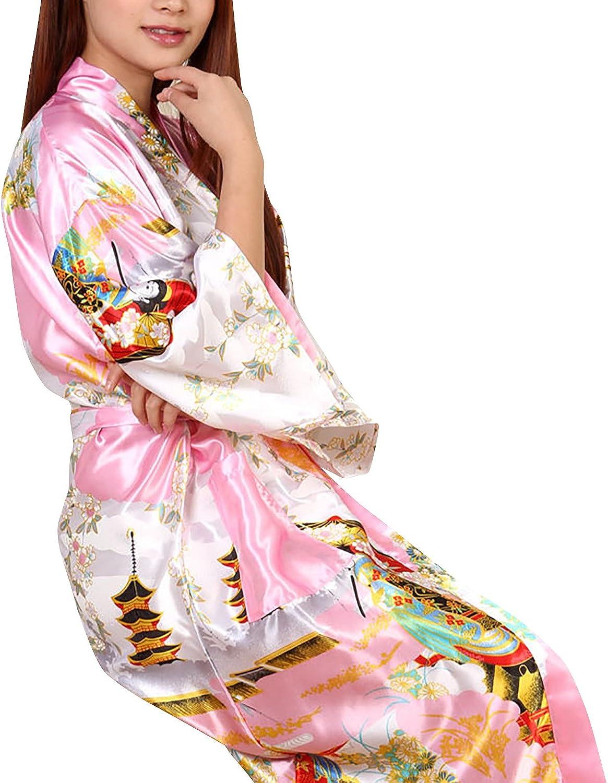 Dolamen Mujer Vestido Kimono Sat/én Estilo Largo /& 2017 Geisha /& Flores Robe Albornoz Dama de Honor Ropa de Dormir Pijama Camis/ón para Mujer