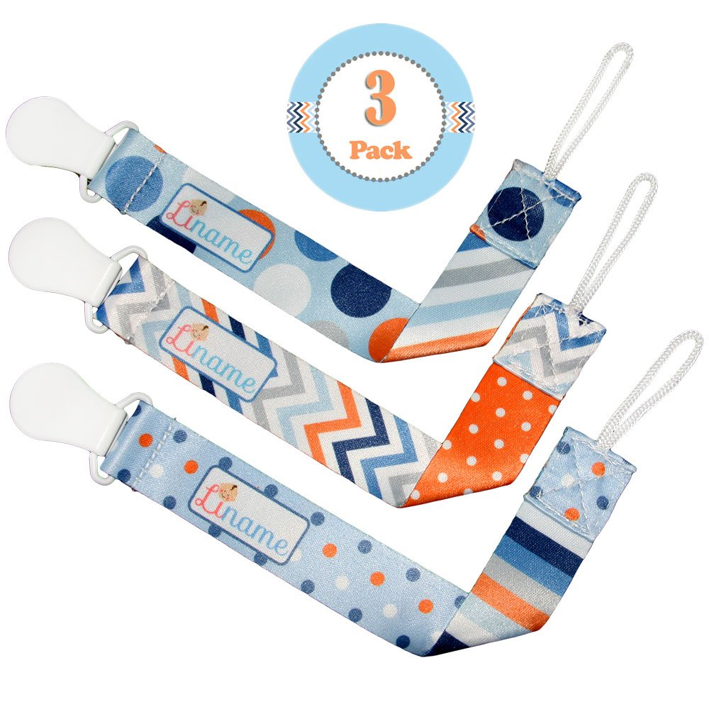 Liname Dummy Clip for Boys with BONUS eBook - 3 Pack Gift Packaging - Premium Quality & Unique Design - Dummy Clips Fit ALL Dummies & Soothers - Perfect Baby Gift 7890