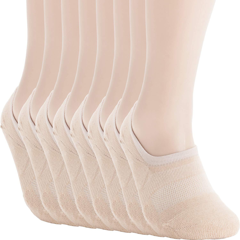 Pro Mountain Men's No Show Flat Cushion Athletic Cotton Sneakers Sports Socks (L(US Men Shoe Size 8.5~10.5, size11), Beige 8 pairs Pack L size) by Pro Mountain