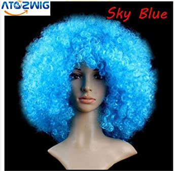 ATOZWIG 1pc Halloween Pelucas Synthetic Hair Wig 200g Weight High Heat Resistance Multicolor Afro wig Harajuku