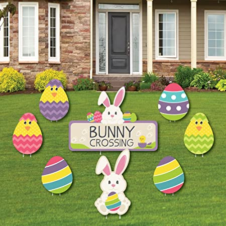 Big Dot of Happiness Hippity Hoppity - Yard Sign & Outdoor Lawn Decorations  - Easter Bunny Party Yard Signs - Set of 12