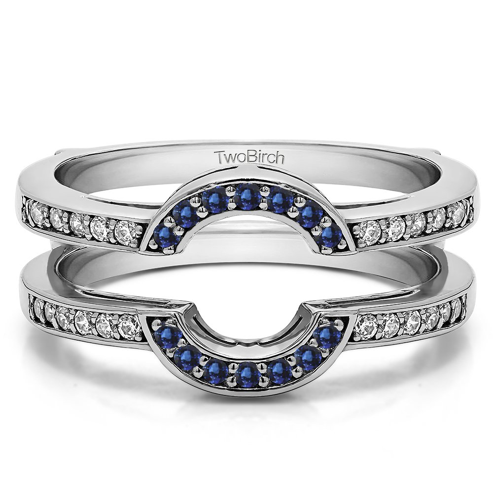 Silver Round Shaped Classic Style Halo Wedding Ring Guard with Diamonds and Sapphire (0.38 ct. twt.)