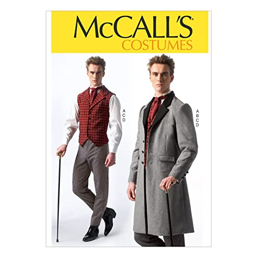 Men's Vintage Reproduction Sewing Patterns Frock Coat vest Mens Costumes Size MEN (Small (34-36) Medium (38-40) Large (42-44) X-Large (46-48) XX-Large (50-52)) $8.65 AT vintagedancer.com