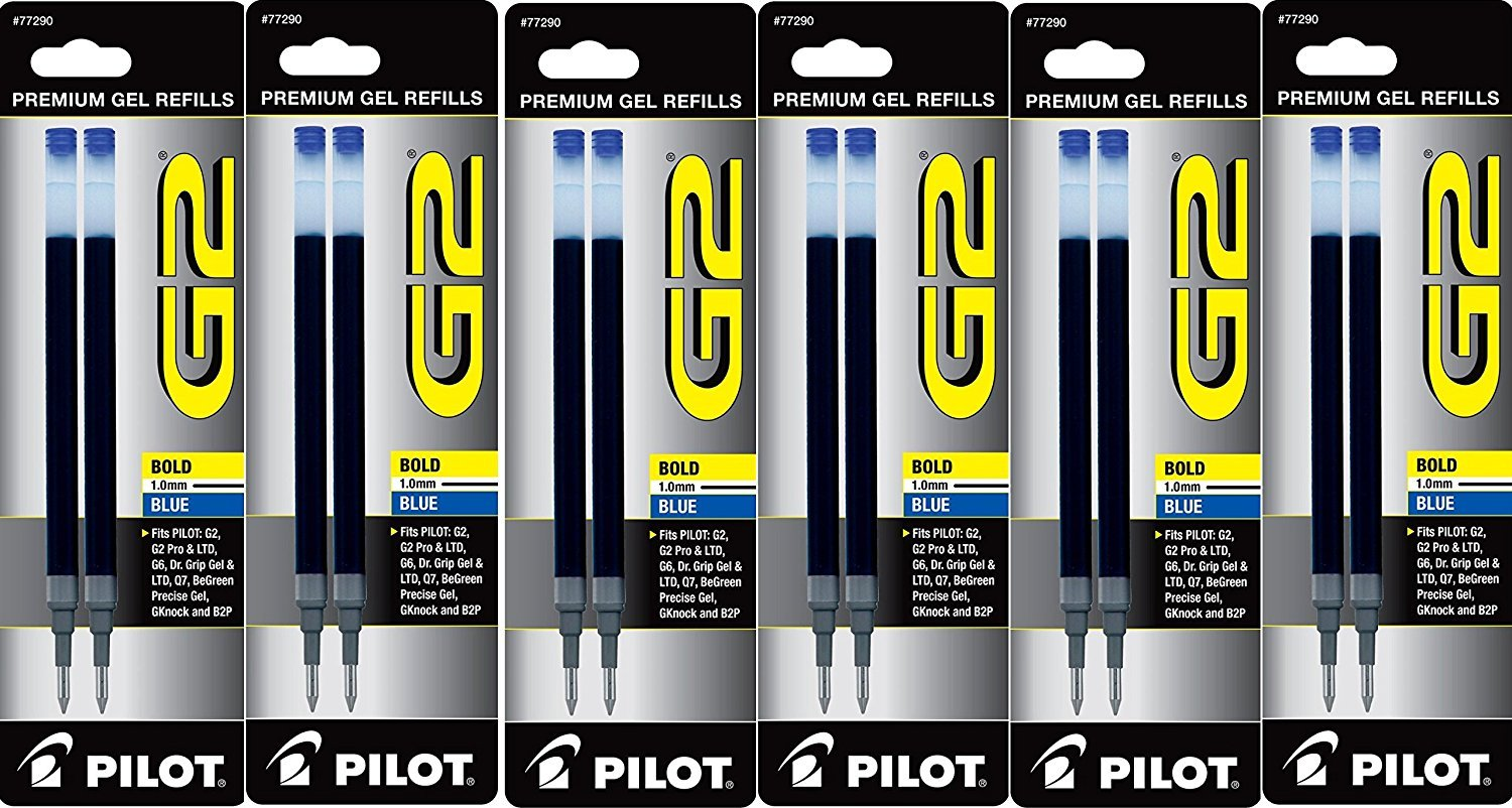 Value Pack of 6, Pilot G2 Roller Ball ink refills, Bold, Blue, 6 packs = 12 refills, (77290) by Pilot