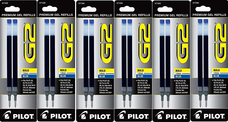 Value Pack of 6, Pilot G2 Roller Ball ink refills, Bold, Blue, 6 packs = 12 refills, (77290)