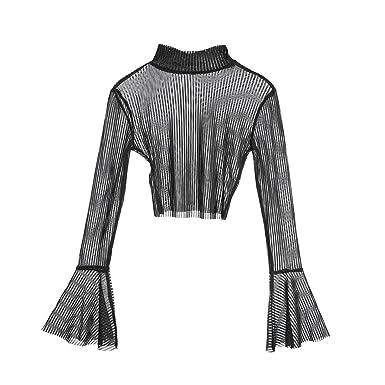 36b91d8bfef Doqcey Music Festival Women's Long Bell Sleeve Stripe Crop Top See Through  Sheer Mesh T Shirt