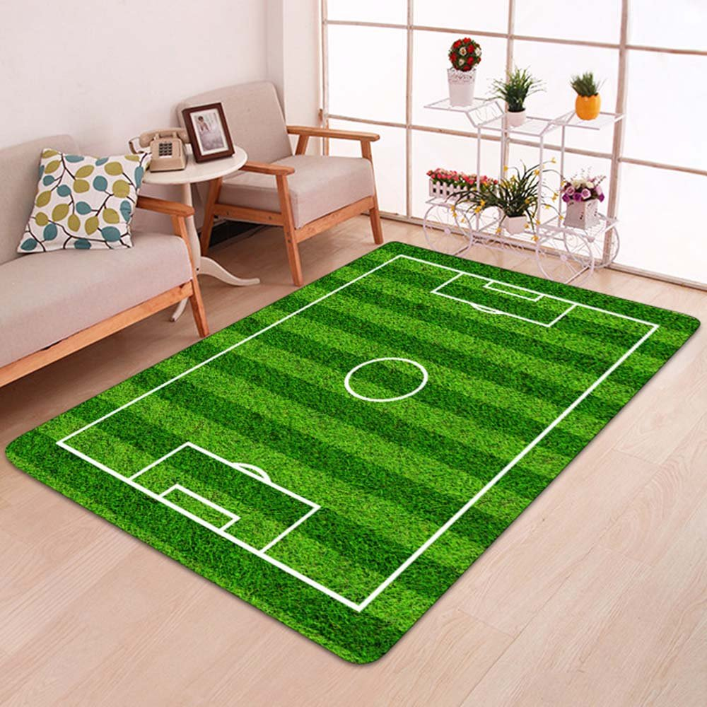 Alapaste Soccer Field Ground Mat Green,Non-Slip Play Area Rug Pad for Children Teen, Room Carpet Door Mat for Living Room Playroom Nursery Decoration
