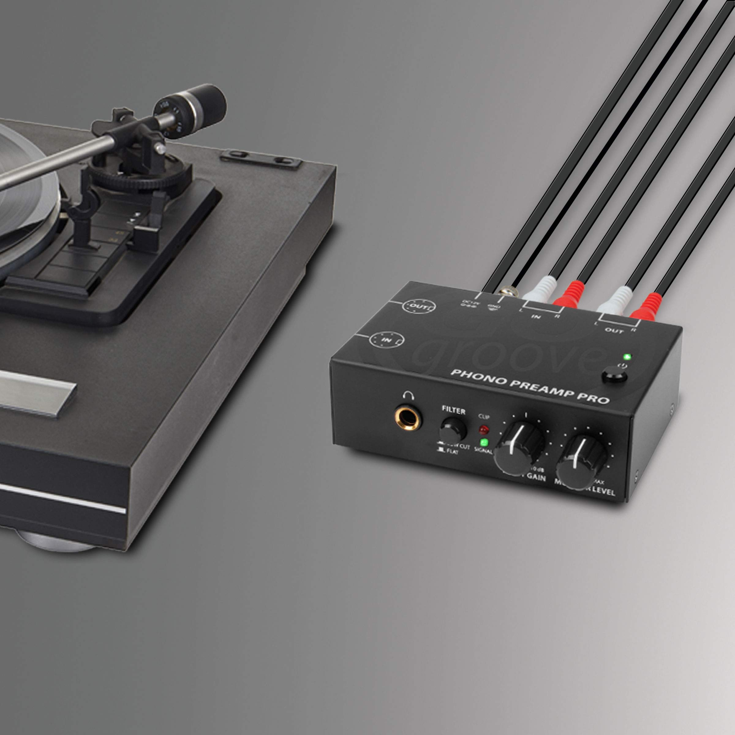 GOgroove Phono Preamp Pro Preamplifier with RCA Input/Output, DIN Connection, RIAA Equalization, 12V AC Adapter - Compatible with Vinyl Record Players, Turntables, Stereos, DJ Mixers by GOgroove (Image #8)