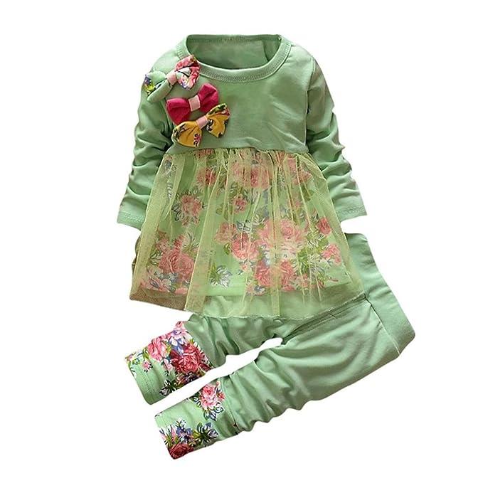 Amazon.com: Juego de ropa de bebé, ppbuy bebé niñas Floral ...