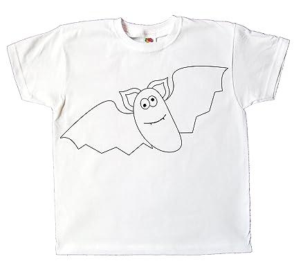 292b09f70e39c Kinder T-Shirt Fledermaus zum bemalen und ausmalen mit Vordruck Spiel zum  Kindergeburtstag Kindergarten für