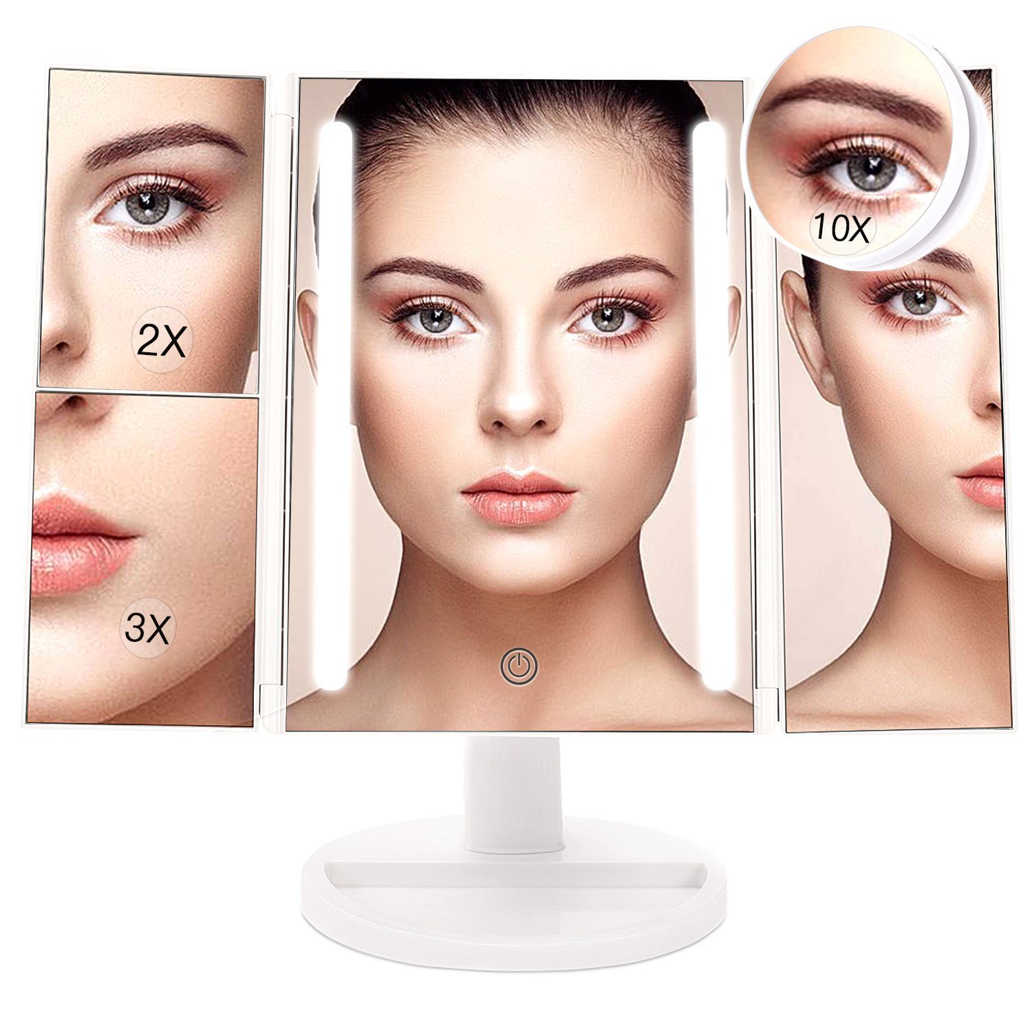 BESTOPE Makeup Vanity Mirror with 1X, 2X, 3X, 10X Magnification,Trifold Mirror with 24 LED Lights, Touch Screen, 180 °Adjustable Rotation, Dual power supply Countertop Cosmetic Makeup Mirror 180 °Adjustable Rotation