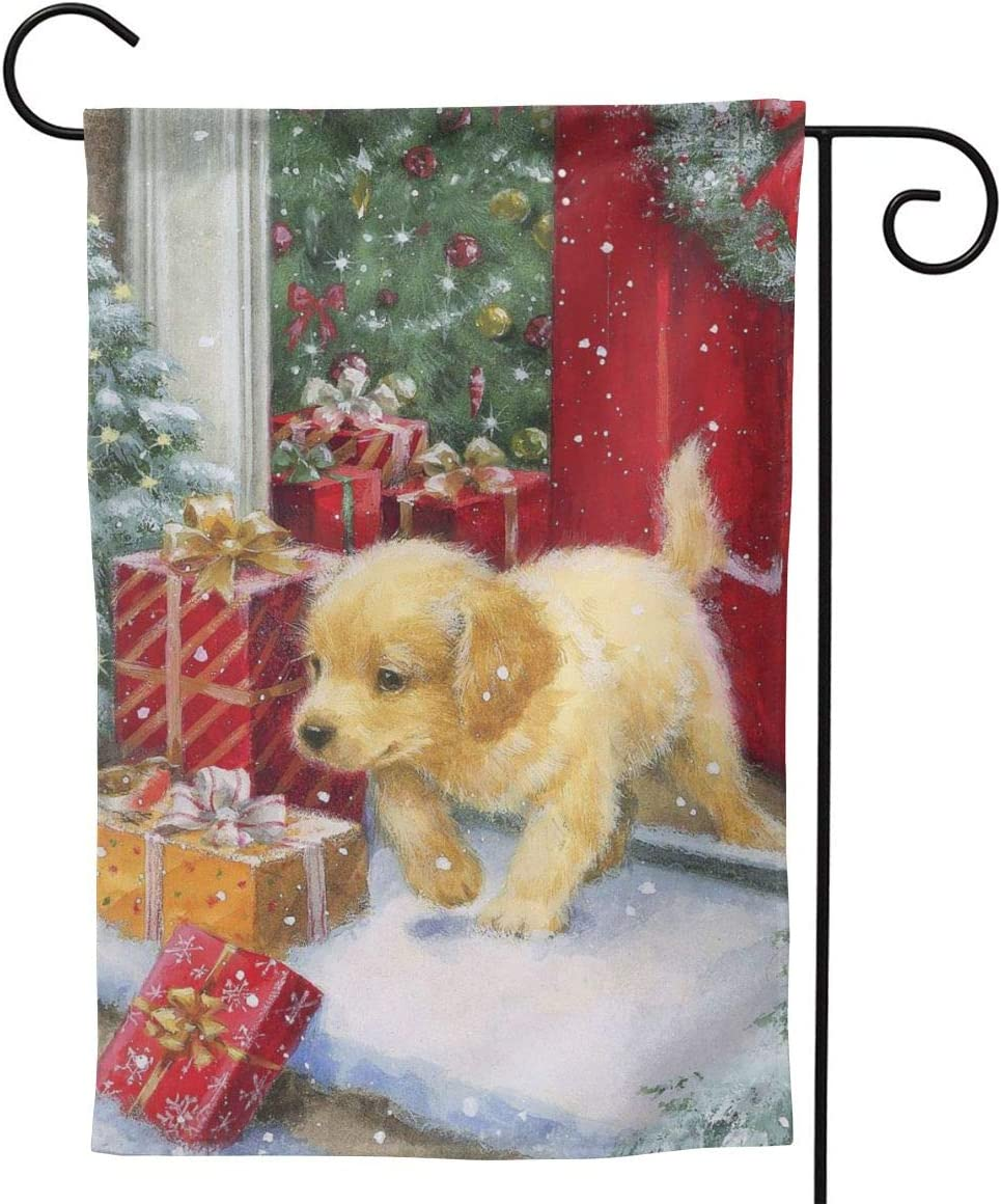 Only Pineapple Christmas Winter Golden Retriever Baby Gift Seasonal Family Welcome Double Sided Garden Flag Outdoor Funny Decorative Flags for Garden Yard Lawn Decor Party Gift Many Sizes