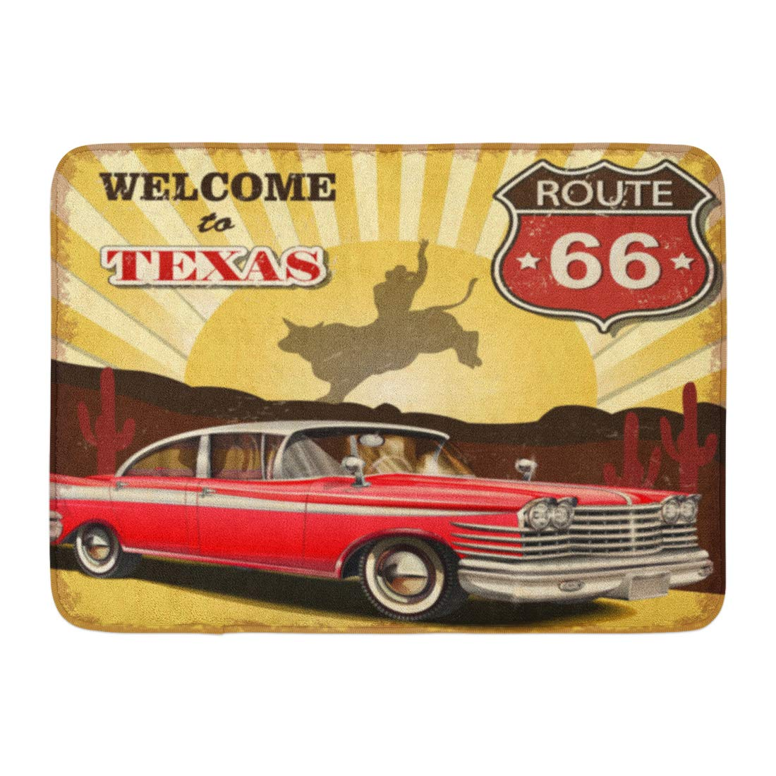 Emvency Bath Mat Rodeo Vintage Welcome to Texas Retro Car Old Bathroom Decor Rug 16'' x 24''