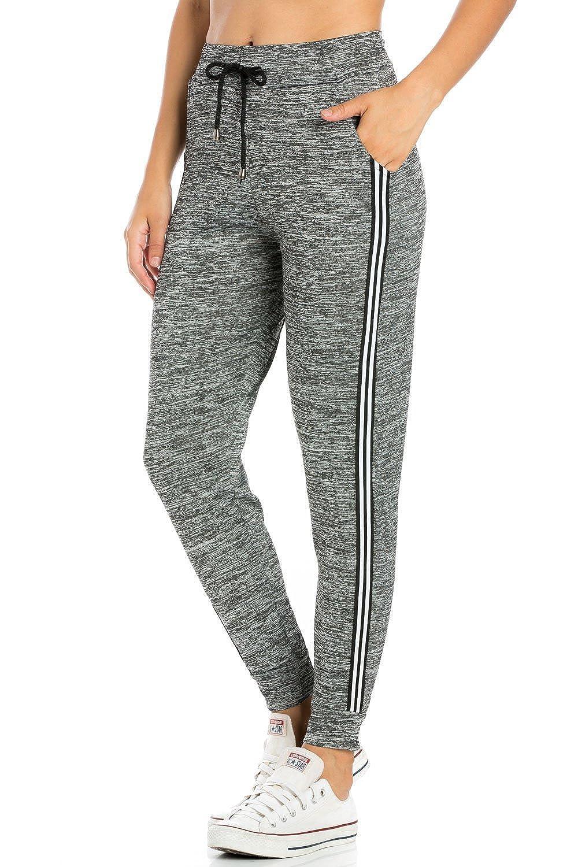 P9808grey My Yuccie Women's Super Soft Comfy Print Jogger Pants with Zipper Side Pockets (S  XL)