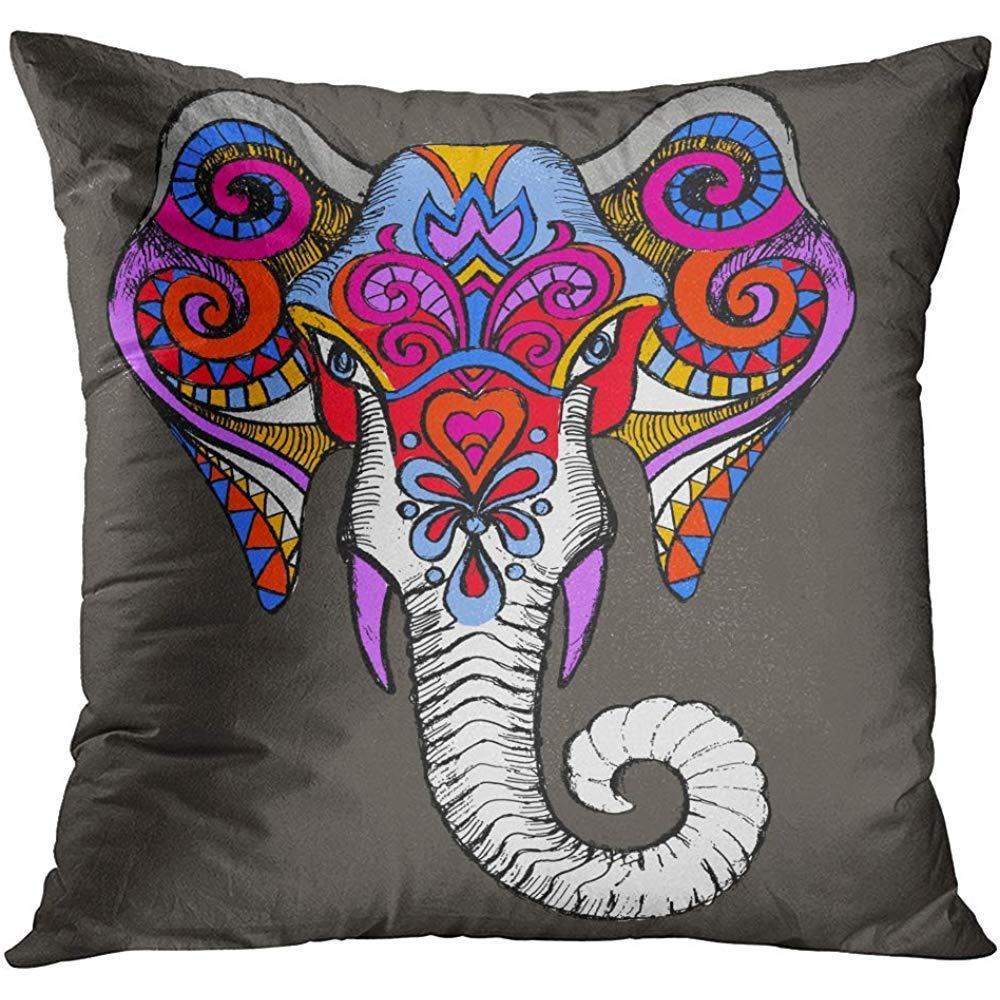 MJDIY Funda De Cojín,Elefante Tribal Máscara Africana Símbolo De ...
