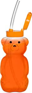 Special Supplies Juice Bear Bottle Drinking Cup with 3 Long Straws, Squeezable Therapy and Special Needs Assistive Drink Container, Spill Proof and Leak Resistant Lid