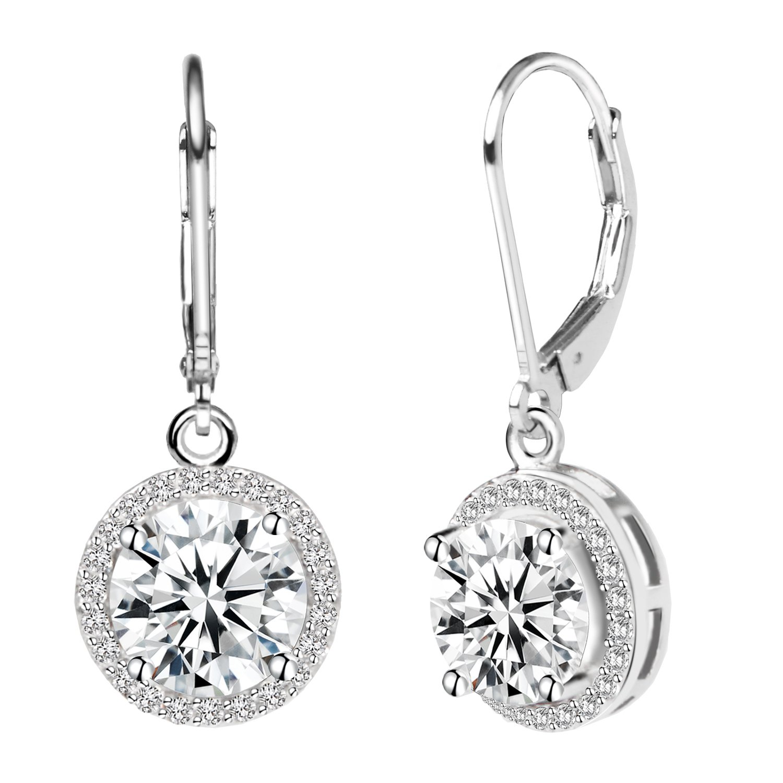 Jane Stone Sterling Silver Earrings Cubic Zirconia Halo Earrings Leverback Earrings Round Rhinestone Dangle Earrings Wedding Jewelry for Women Bridal