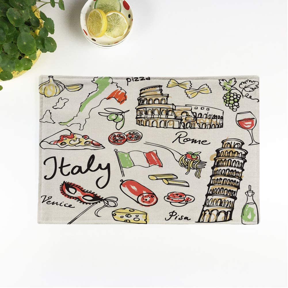 rouihot Set of 6 Placemats Italian of Italy Food Doodle Sketch Flag Rome Spaghetti 12.5x17 Inch Non-Slip Washable Place Mats for Dinner Parties Decor Kitchen Table